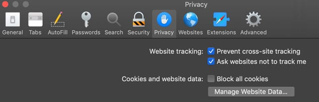 Mac macOS prevent website tracking in Safari