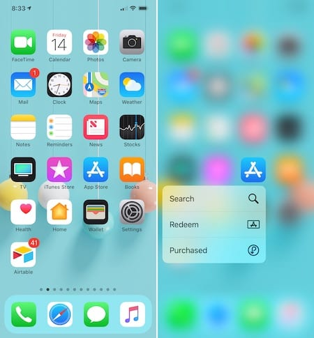 App Store 3D Touch