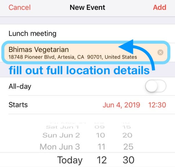 calendar app event's exact destination address