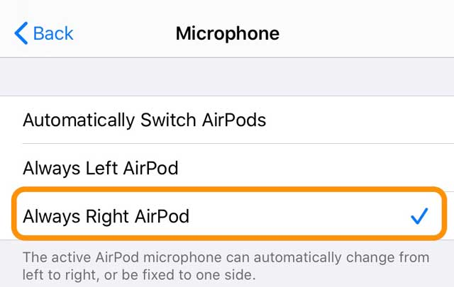 microphone settings for AirPods