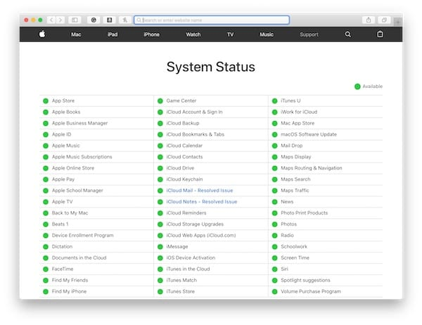Screenshot from Apple's System Status Website showing everything Green
