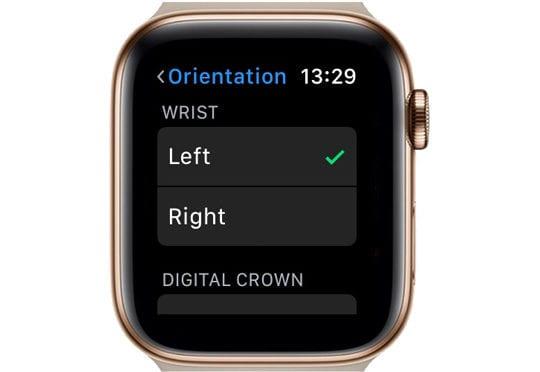 orientation setting on Apple Watch