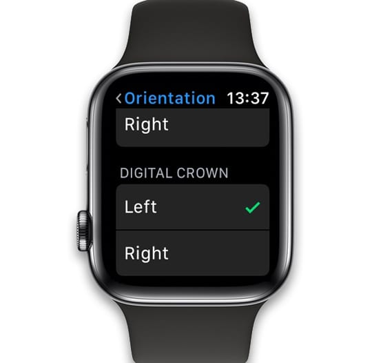 reverse the digital crown position on Apple Watch