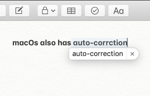 Screenshot of an autocorrect prediction bubble on macOS