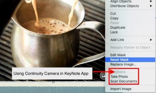 Continuity Feature on MacBook via Keynote