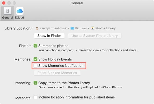 Disable Memories Notifications on Mac