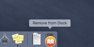 Screenshot of the iBooks app being dropped on the Trash to Remove from Dock