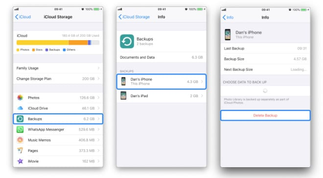 Three screenshots showing how to Delete Last Backup from iCloud