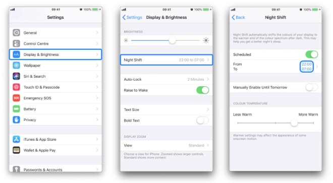 Three iPhone screenshots navigating to the Night Shift settings and highlighting the relevant buttons
