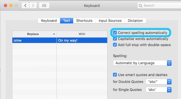 Screenshot from macOS System Preferences highlighting the option to turn off autocorrect
