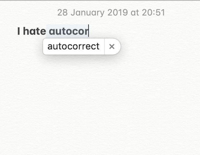 Screenshot of macOS text using autocorrect