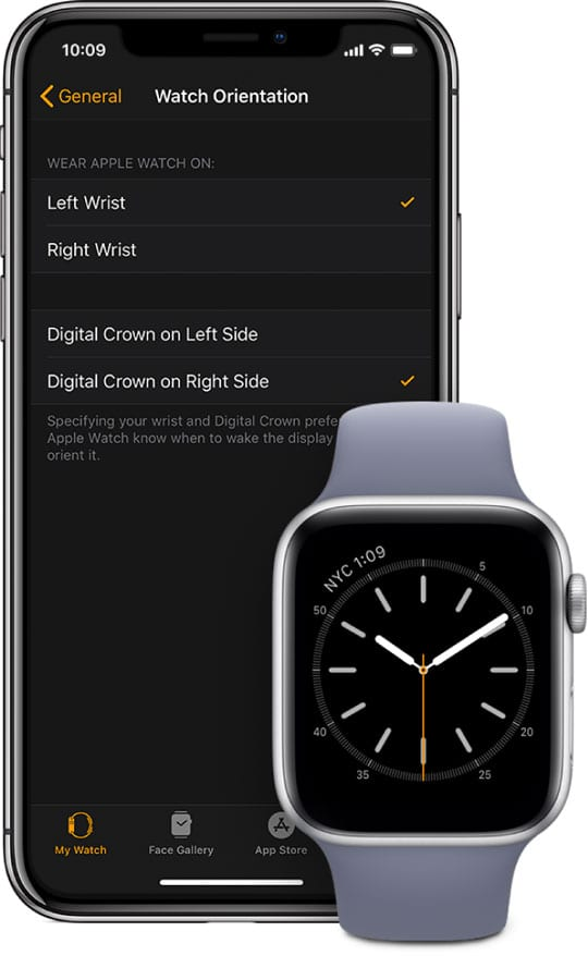 iPhone watch app changing digital crown orientation