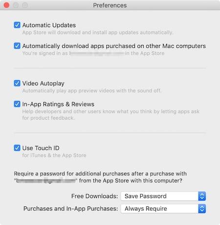 App Store preferences