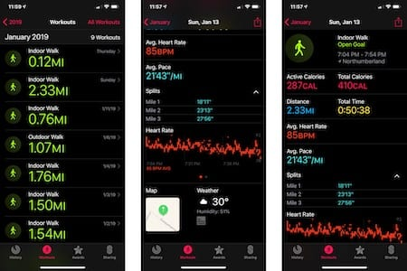 Apple Watch walking example