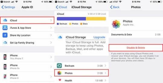 iCloud Photos - Disable & Delete
