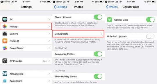 iCloud Photos Troubleshooting Data