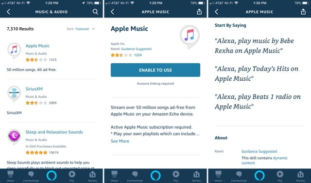 Alexa App Apple Music on iPhone