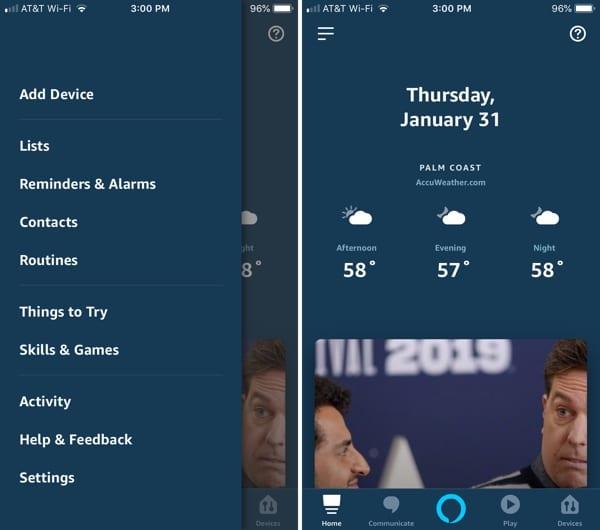 Alexa App Menu Main on iPhone