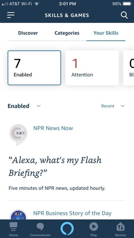 Alexa App Your Skills on iPhone