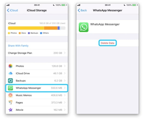 Two iPhone screenshots selecting an app from the Manage Storage page and Deleting the Data