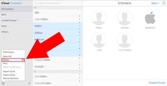 Delete Multiple Contacts iCloud