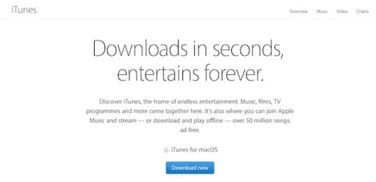 Screenshot of the iTunes download page from Apple's website