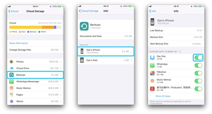 Three iPhone screenshots navigating to the device Backup page