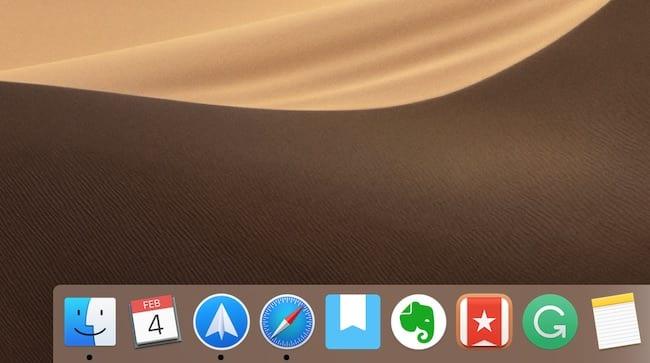 Screenshot of the Dock on macOS Mojave