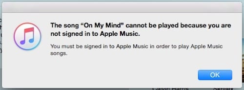 Screenshot of the 'Not signed in to Apple Music' error message