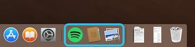 Screenshot highlighting the Recent Apps section of the Dock
