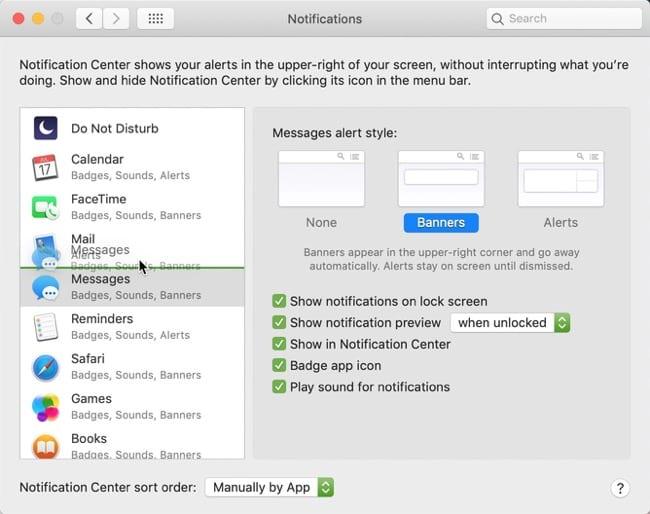 Sort Apps Manually Notification Center Mac