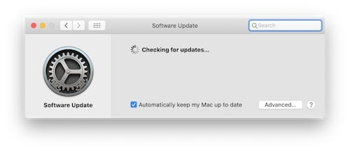 Screenshot of macOS System Preferences searching for updates