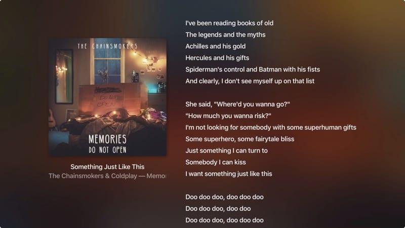 View Song Lyrics AppleTV