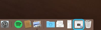 Screenshot of the Dock showing a window that has been minimized
