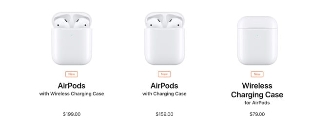 options and pricing on AirPods 2 in the US