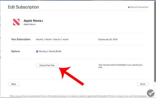 Apple News+ on Mac - Cancel