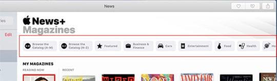 Apple News+ on Mac - Categories