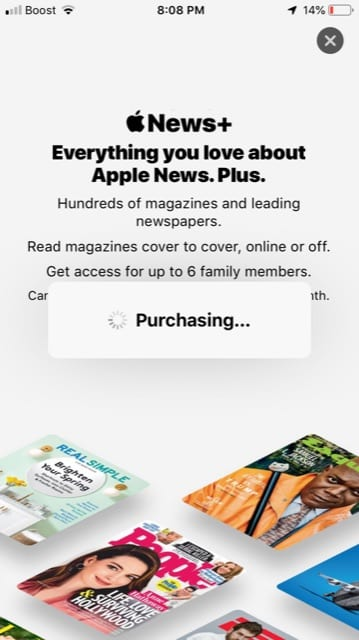 Apple News Plus stuck on purchasing, fix