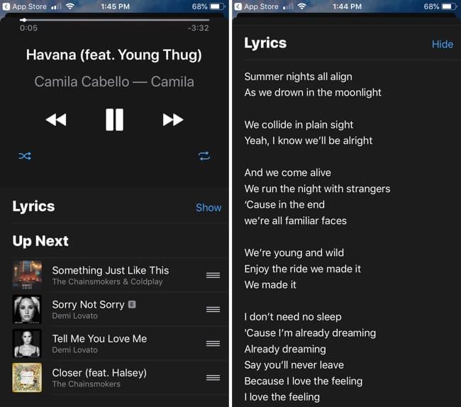 Apple TV Remote App Queue and Lyrics