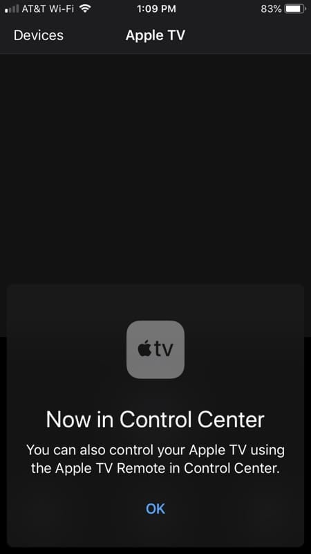 Apple TV Remote Available for Control Center