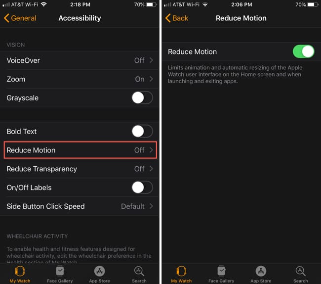 Enable Apple Watch Reduce Motion iPhone