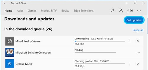 Screenshot of the Downloads and Updates page from the Microsoft Store