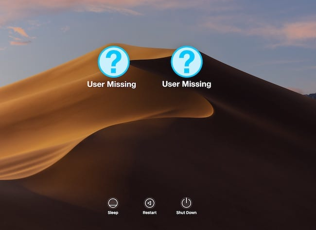 Screenshot of the Mac Login Screen showing two missing User Accounts