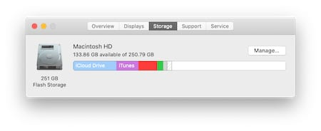 Screenshot of the Storage window from the About This Mac menu