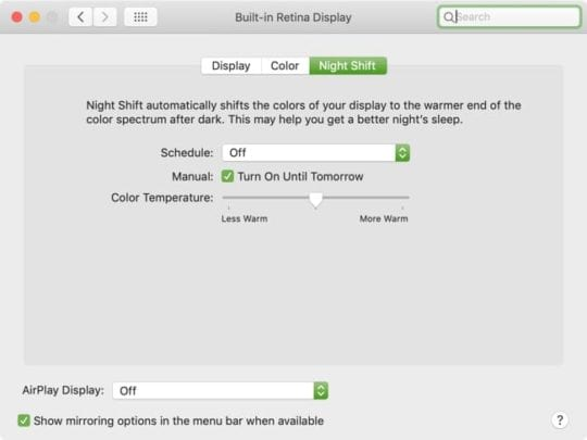 Enable Night Shift mode manually on Mac