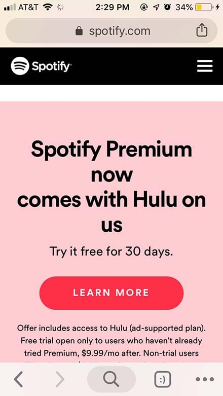 Spotify iOS - Buy Premium