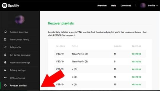 Spotify iPhone Recover Deleted Playlists