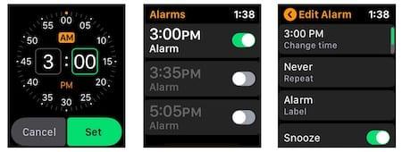 Apple Watch set alarm
