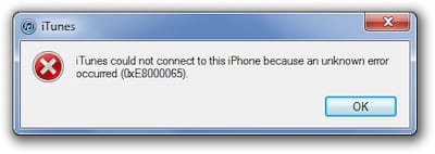 Error message from iTunes saying: iTunes could not connect to this iPhone