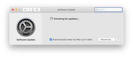 "Screenshot of the macOS ""Searching for updates"" window"